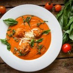 Tomato Soup with Cheddar Cheese Dumplings